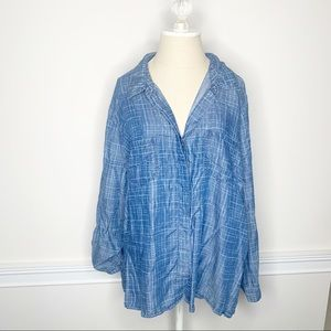 Kenneth Cole Reaction Blue Button Down Shirt 1x